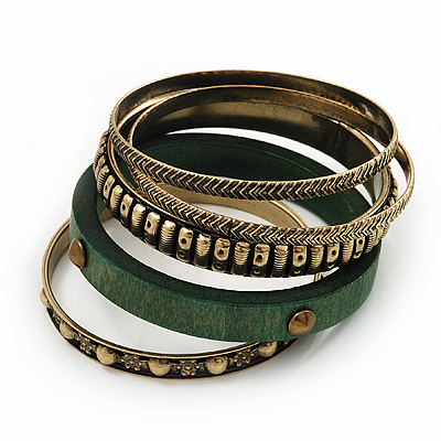 Antique Gold Metal &amp; Green Wood Bangle Set of 5 - 18cm Length