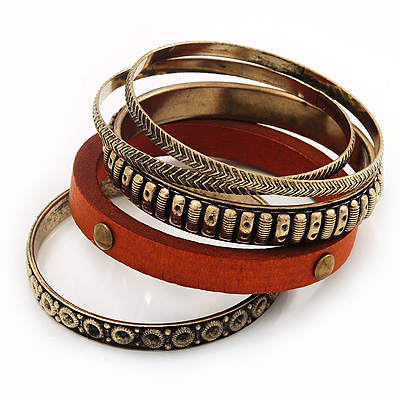 Antique Gold Metal & Orange Wood Bangle Set of 5 - 18cm Length