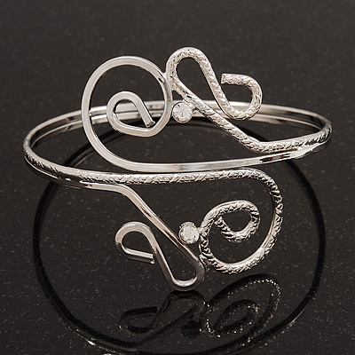 Silver Plated Textured &#039;Twirls&#039; Diamante Armlet Bangle - Adjustable