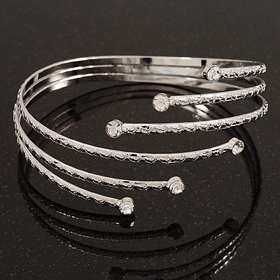 Rhodium Plated Crystal Textured Armlet Bangle - up to 29cm upper arm