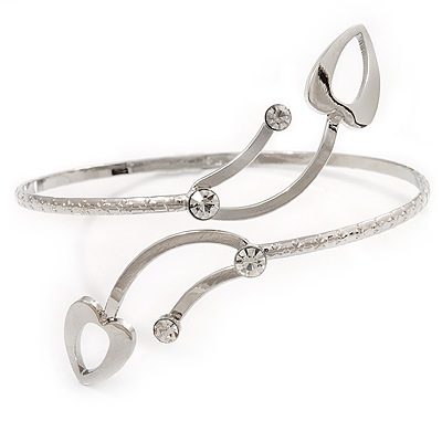 Silver Plated Textured Diamante 'Leaf' Armlet Bangle - Adjustable