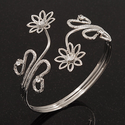 Rhodium Plated Textured 'Flowers & Twirls' Diamante Upper Arm Bracelet Armlet - Adjustable