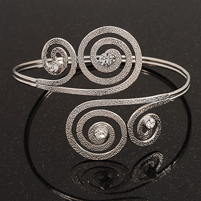 Silver Plated Textured Diamante &#039;Swirl&#039; Upper Arm Bracelet - Adjustable