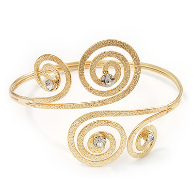 Gold Plated Textured Diamante 'Swirl' Upper Arm Bracelet - Adjustable