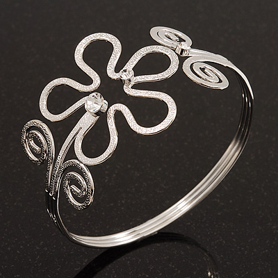 Rhodium Plated Textured &#039;Flower &amp; Swirls&#039; Diamante Upper Arm Bracelet Armlet - Adjustable