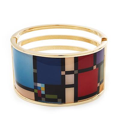 Wide Geometric Pattern Hinge Bangle Bracelet In Gold Finish - 18cm Length