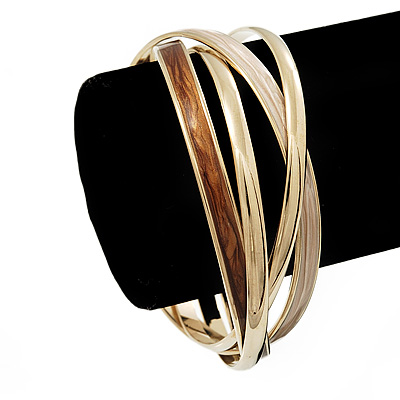 Set Of 4 Entwined Beige/Brown Enamel & Gold Bracelets - 18cm Length