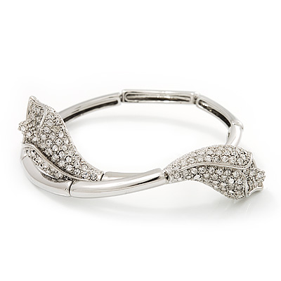 Silver Plated Clear Diamante 'Calla Lily' Flex Bracelet - Adjustable