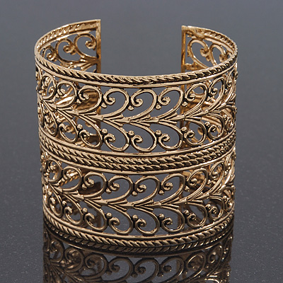 Vintage Wide Burn Gold Filigree Cuff Bangle - Adjustable