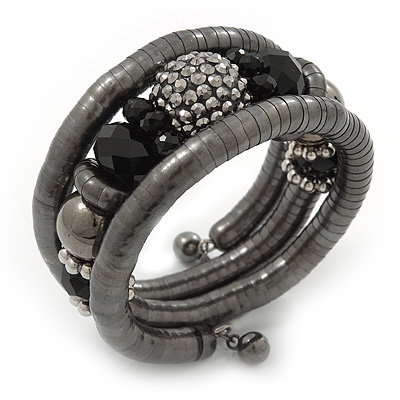 Black Hematite/Glass Beaded Coil Bangle Bracelet - Adjustable
