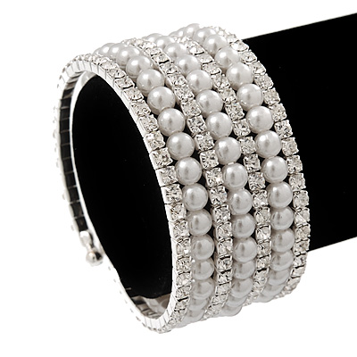 Wide Pearl Style Beaded & Clear Swarovski Crystal Coil Flex Bangle Bracelet - Adjustable
