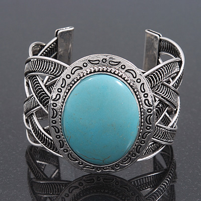 Vintage Turquoise Style Oval Cuff Bracelet In Antique Silver Metal - Adjustable