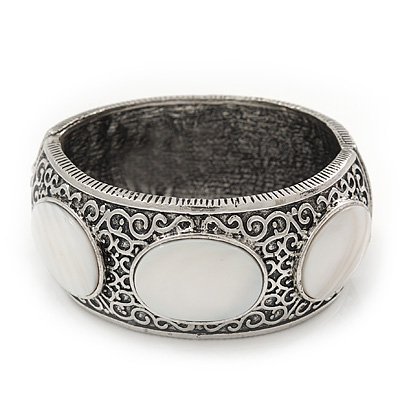 Burn Silver Effect White Shell Hammered Hinged Bangle - up to 19cm wrist