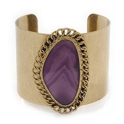 Vintage Burnished Gold Purple Epoxy Bead Cuff Bracelet - 5cm Width/ 20cm Length