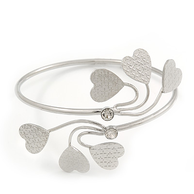 Silver Plated Textured Diamante 'Heart' Armlet Bangle - Adjustable