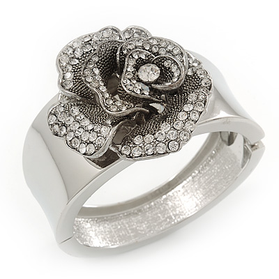 Statement Crystal 'Rose' Hinged Bangle Bracelet In Silver Plating - 18cm Length