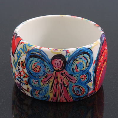 Wide Chunky Acrylic 'Fairy' Bangle Bracelet - up to 20cm wrist