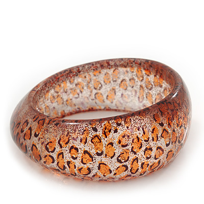'Leopard Print' Glittering Resin Bangle Bracelet - up to 20cm wrist