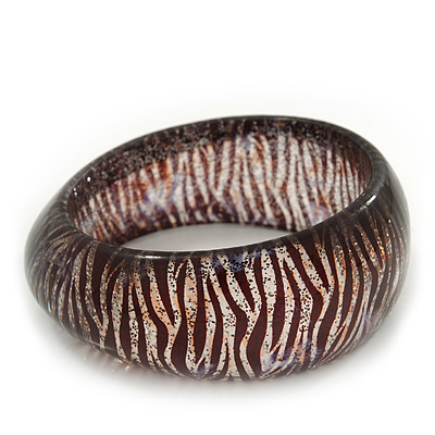 Glittering Black/Beige 'Zebra Print' Resin Bangle Bracelet - up to 19cm Length