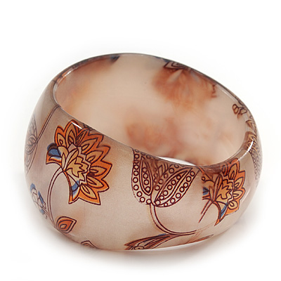 Chunky Beige/Brown &#039;Floral Pattern&#039; Resin Bangle Bracelet - 20cm Length