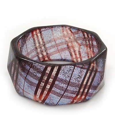 Glittering Faceted Resin 'Tartan Pattern' Bangle Bracelet In Purple/Red - 20cm Length