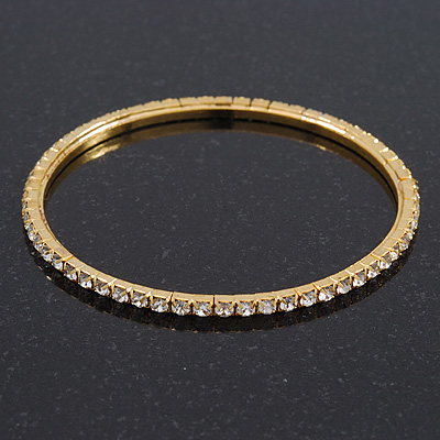Slim Crystal Bangle Bracelet In Gold Plating - up to 18cm Length