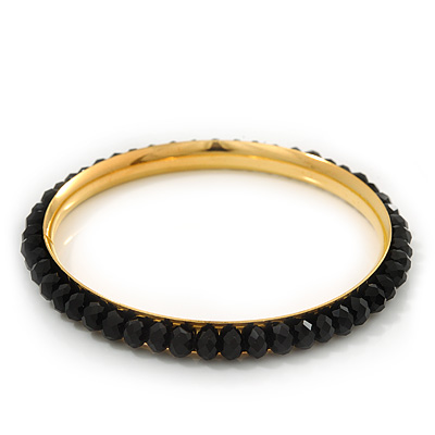 Slim Black Glass Bangle Bracelet In Gold Plating - up to 18cm Length
