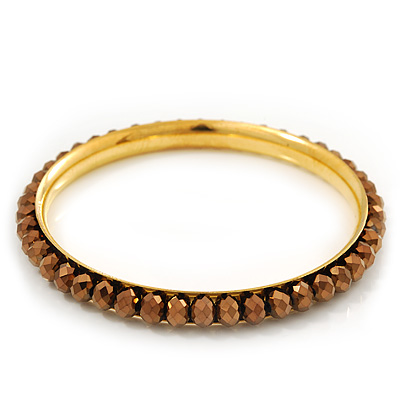 Slim Bronze Metallic Glass Bangle Bracelet In Gold Plating - up to 18cm Length