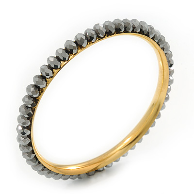 Slim Metallic Silver Glass Bangle Bracelet In Gold Plating - up to 18cm Length