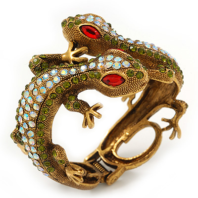 'Gecko Love' Retro Swarovski Crystal Hinged Bangle In Burn Gold Metal - 17cm Length