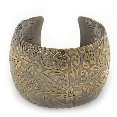 Brushed Gun Metal &#039;Florentina&#039; Silhouette Cuff Bracelet - up to 18cm Length