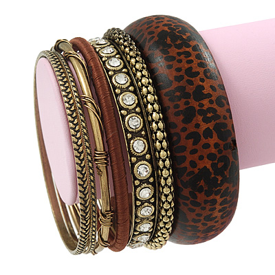 Antique Gold Metal &amp; Mahogany Brown Animal Print Wood Bangle Set of 7 - 18cm Length