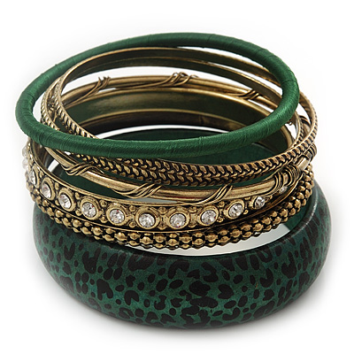 Antique Gold Metal &amp; Dark Green Animal Print Wood Bangle Set of 7 - 18cm Length