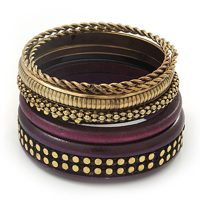 Vintage Burn Gold/ Purple Studded Wood Set Of 7 Bangles - 18cm Length