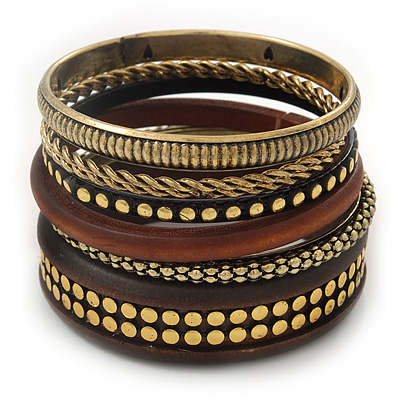 Vintage Burn Gold/ Brown Studded Wood Set Of 7 Bangles - 18cm Length