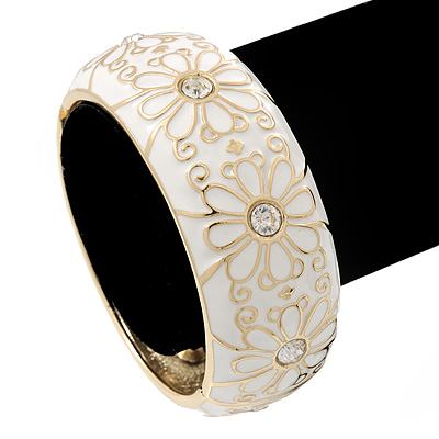 White Enamel &#039;Daisy&#039; Hinged Bangle Bracelet In Gold Plating - 19cm Length