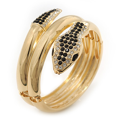 Black/Clear Swarovski Crystal 'Snake' Hinged Bangle Bracelet In Gold Plating - 19cm Length