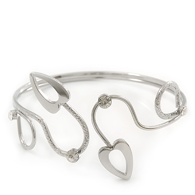 Silver Plated Textured Diamante &#039;Hearts&#039; Armlet Upper Arm Cuff Bracelet - Adjustable