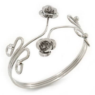 Rhodium Plated &#039;Rose&#039; Armlet Upper Arm Cuff Bracelet - Adjustable