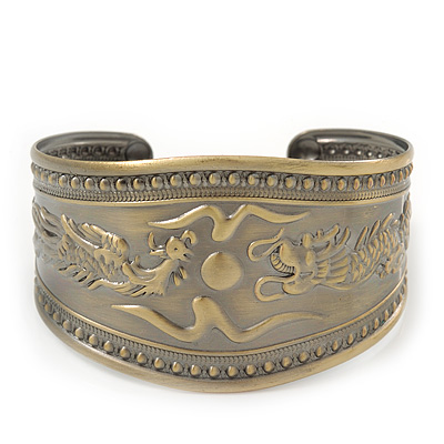 Brushed Gun Metal 'Phoenix and Dragon' Silhouette Cuff Bracelet - up to 20cm