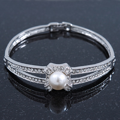 Classic Crystal, Pearl Bracelet In Rhodium Plating - Up to 17cm Length