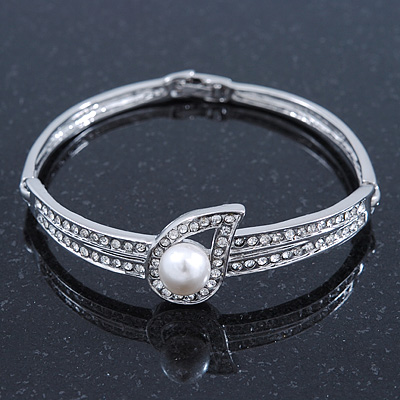 Stylish Crystal, Pearl &#039;Teardorp&#039; Bracelet In Rhodium Plating - up to 17cm Length