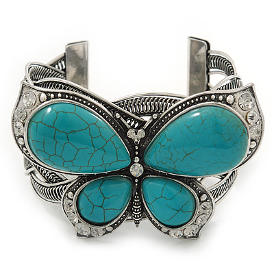Large Turquoise &#039;Butterfly&#039; Cuff Bracelet In Silver Plating