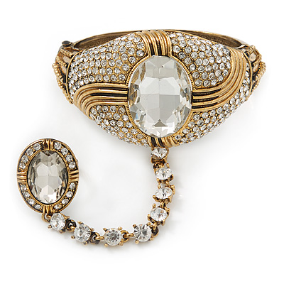 Vintage Inspired Burn Gold Chunky Crystal Hinged Bangle With Oval Crystal Ring Attached - 18cm Length, Ring Size 7/8