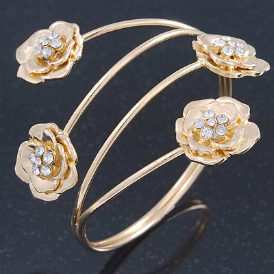 Gold Plated Crystal Floral Upper Arm Bracelet - Adjustable