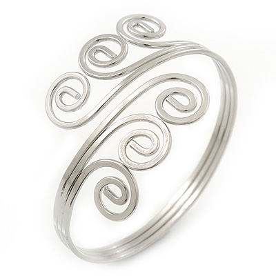 Greek Style Twirl Upper Arm, Armlet Bracelet In Silver Plating - Adjustable - main view