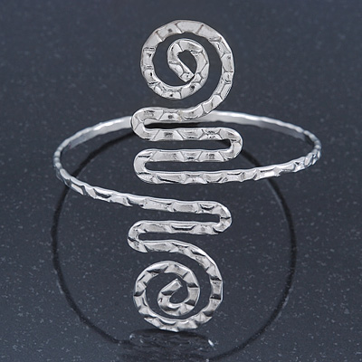 Greek Style Hammered Swirl Upper Arm, Armlet Bracelet In Sivler Plating - Adjustable - main view