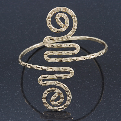 Greek Style Hammered Swirl Upper Arm, Armlet Bracelet In Gold Plating - Adjustable - main view