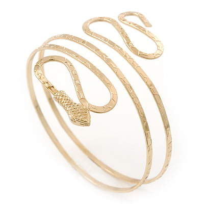 Gold Plated Hammered Snake Upper Arm, Armlet Bracelet - up to 27cm upper arm