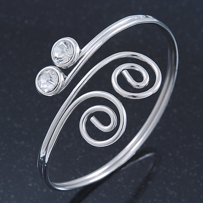 Rhodium Plated Small Swirls Crystal Upper Arm Bracelet - Adjustable